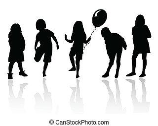 lány, játék, árnykép