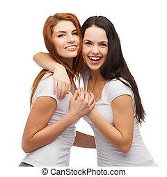 lány, két, ölelgetés, nevető, white trikó