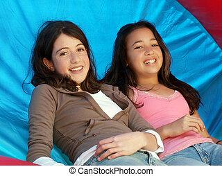 lány, két, boldog