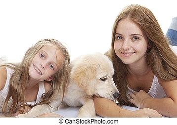 lány, kölyökkutya, család, kisállat