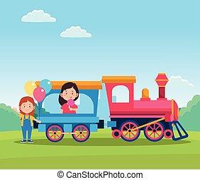 lány, kiképez, tervezés, gyerekek, boldog, karikatúra, nap