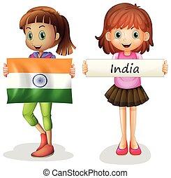 lány, lobogó, india