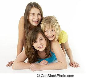 lány, műterem, csoport, három, fiatal