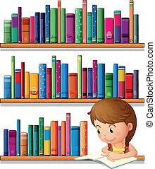 lány olvas, fiatal, könyvtár