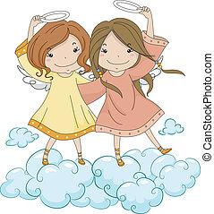 lánytestvér, -eik, angyal, birtok, dicsfénnyel övezni
