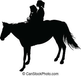 lánytestvér, vektor, ló, árnykép
