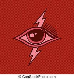 látás, minden, szem, horus