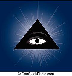 látás, minden, szem, masonic, jelkép, providence.