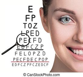látás teszt, ember, szemüveg