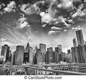 láthatár, brooklyn, nyomasztó, napnyugta, york., új, manhattan