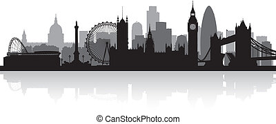 láthatár, london, város, árnykép