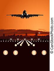 láthatár, utasszállító repülőgép, leszállás