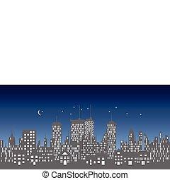 láthatár, városi, épületek, felhőkarcoló