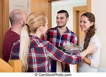 látogató, család, felfogó