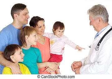látogató, mosolygós, medikus, felfogó