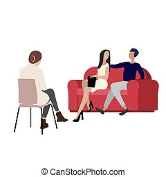 látogató, szekrény, ember, párosít, nő, lélekismerő