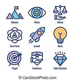 látomás, becsül, gondolat, misszió, gól, ikonok, &, rakéta, állhatatos, ikon
