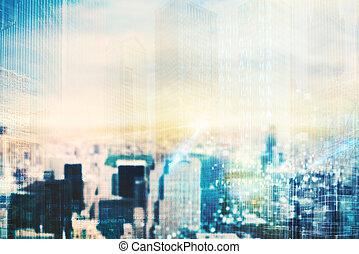 látomás, város, futuristic