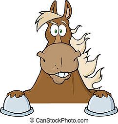 látszó, barna ló, felett, aláír