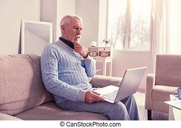 látszó, idősebb ember, ellenző, gondolkodó, ember