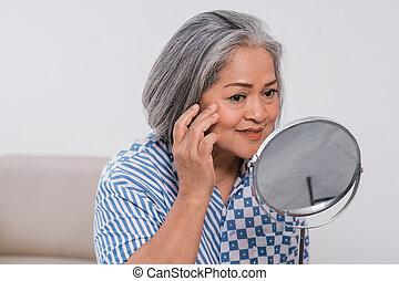 látszó, nő, öreg, tükör