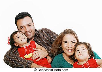 látszó, portré, mosolygós, család, boldog