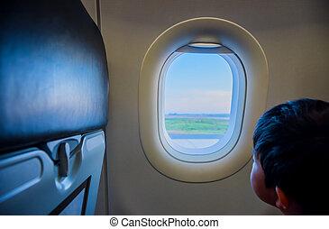 látszó, repülőgép., ablak, gyerekek