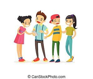 látszó, telefon., csoport, tizenéves, kaukázusi