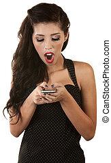 látszó, telefon woman, izgatott