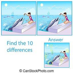 látszik, pictures.girl, delfin, tíz, children., különbségek, táplálás, sea., rejtvény, fish, látási, ábra, között