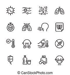 légzési, fertőzés, tünetek, syncytial, vírus, vektor, bánásmód, rsv, egyenes, indokok, ikon