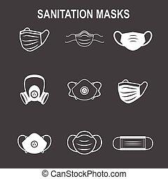légzési, nyugat, állhatatos, ppe, maszk, arc, facemask, ikon, közegészségügy, oltalom