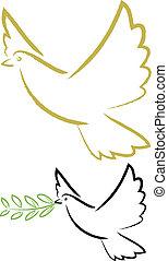 lélek, béke, galamb, jámbor