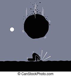 lény, elkerül, probléma, fárasztó, ostrich., ember
