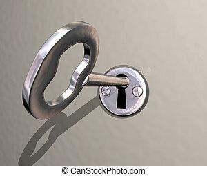 lény, zár, esztergált, ábra, kulcs, fényes, ezüst