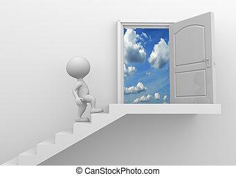 lépcsőház, ég
