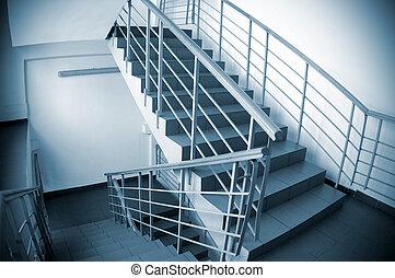 lépcsőház, épület, hivatal