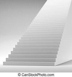 lépcsőház, fehér, elszigetelt