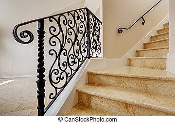 lépcsőház, feldolgozott, fekete, vas, védőkorlát, márvány