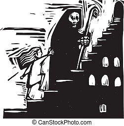 lépcsőház, halál