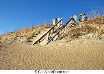 lépcsőház, tengerpart, carolina, észak, sand-covered