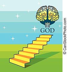 lépcsősor, agyonüt, művészet, isten