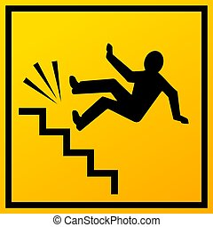lépcsősor, vektor, aláír, bukás