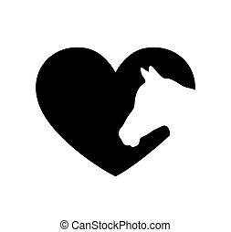 lézer, aláír, vinyl, cutting., decal., ló, ábra, fehér, szív, keret, háttér, ing, icon.t, árnykép, rajz, print., fal, cut.plotter, alakít, böllér, vektor, arc, lovak, fej, fekete, .love