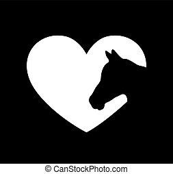 lézer, aláír, vinyl, cutting., ló, ábra, elszigetelt, fehér, szív, keret, háttér, ing, icon.t, árnykép, rajz, print., fal, cut.plotter, alakít, böllér, vektor, arc, képlevonás, lovak, fej, fekete, .love