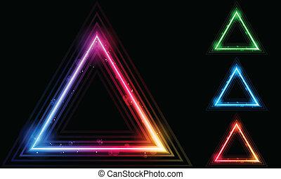 lézer, háromszög, határ, állhatatos, neon