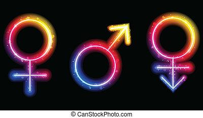 lézer, nemz, neon, jelkép, hím, női, transgender