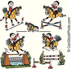 ló, állhatatos, karikatúra, ugrás, előadás
