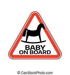 ló, árnykép, autó, böllér, aláír, háttér., bizottság, gyermek, csecsemő, háromszög, fehér, warning., piros
