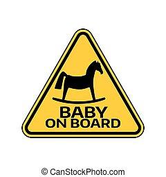 ló, árnykép, autó, böllér, sárga cégtábla, háttér., bizottság, gyermek, csecsemő, háromszög, fehér, warning.